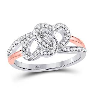 Round Diamond Double Heart Ring 1/5 Cttw 10KT Two-tone