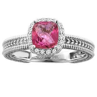 1.60 CTW Pink Topaz & Diamond Ring 14K White Gold -