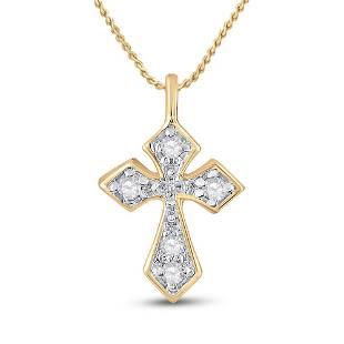 Round Diamond Cross Pendant 1/20 Cttw 10KT Yellow Gold