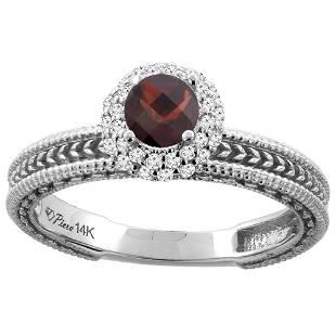 0.85 CTW Garnet & Diamond Ring 14K White Gold -