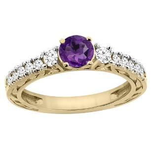 1.10 CTW Amethyst & Diamond Ring 14K Yellow Gold -