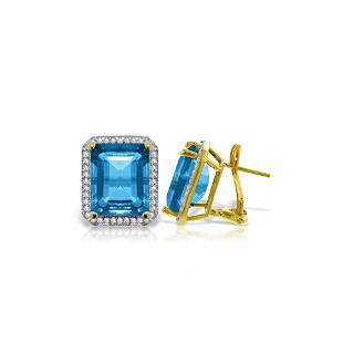 Genuine 15.6 ctw Blue Topaz & Diamond Earrings 14KT