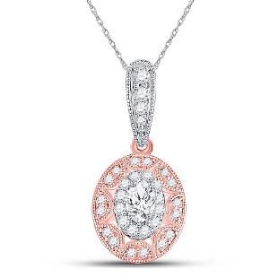 Oval Diamond Vintage Inspired Halo Pendant 3/8 Cttw