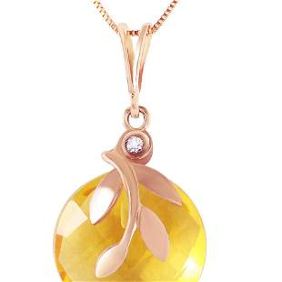 Genuine 5.32 ctw Citrine & Diamond Necklace 14KT Rose
