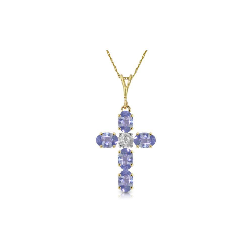 Genuine 1.75 ctw Tanzanite & Diamond Necklace 14KT