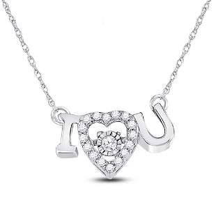 Round Diamond I Love U Heart Pendant Necklace 1/10 Cttw