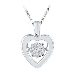 Round Diamond Moving Twinkle Heart Pendant 1/20 Cttw