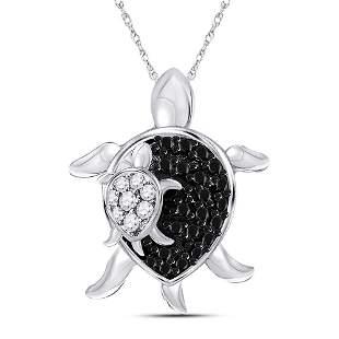 Round Black Color Enhanced Diamond Turtle Animal