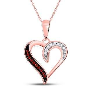 Round Red Color Enhanced Diamond Heart Pendant 1/20