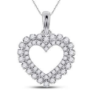 Round Diamond Outline Heart Pendant 3/8 Cttw 14KT White