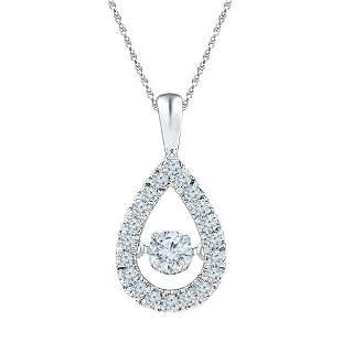 Round Diamond Moving Twinkle Solitaire Teardrop Pendant