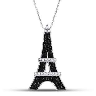 Black Color Enhanced Diamond Eiffel Tower Pendant 1/3