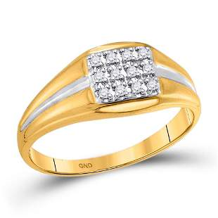 Round Diamond Square Cluster Ring 1/8 Cttw 10KT Yellow