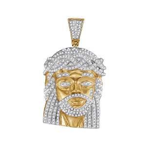 Round Diamond Jesus Charm Pendant 1 Cttw 10KT Yellow