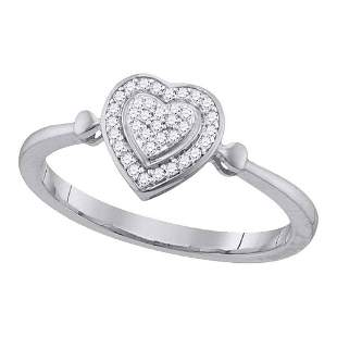 Round Diamond Heart Frame Cluster Ring 1/10 Cttw 10KT