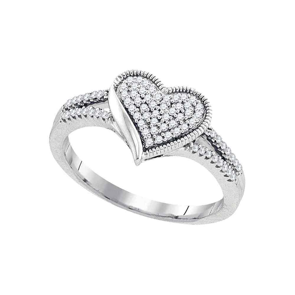 Round Diamond Milgrain Heart Cluster Ring 1/5 Cttw 10KT