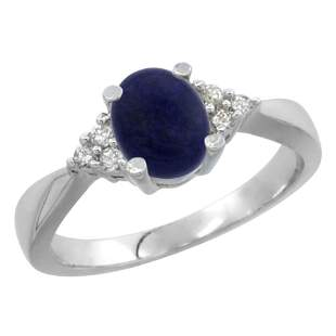 0.81 CTW Lapis Lazuli & Diamond Ring 14K White Gold -
