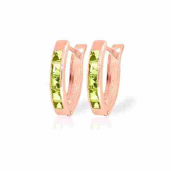 Genuine 1 ctw Peridot Earrings 14KT Rose Gold -