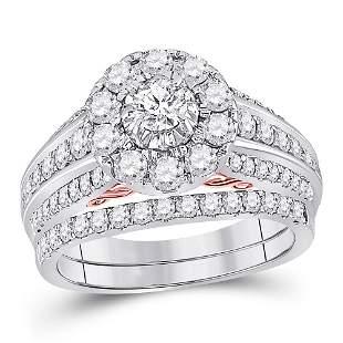Diamond Bridal Wedding Ring Band Set 1-1/2 Cttw 14KT