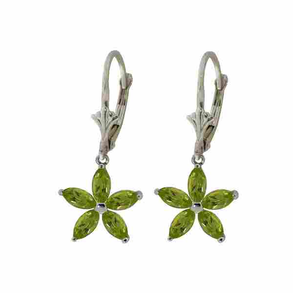 Genuine 2.8 ctw Peridot Earrings 14KT White Gold -