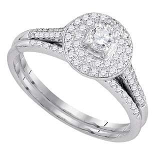 Diamond Halo Bridal Wedding Ring Band Set 1/2 Cttw 14KT