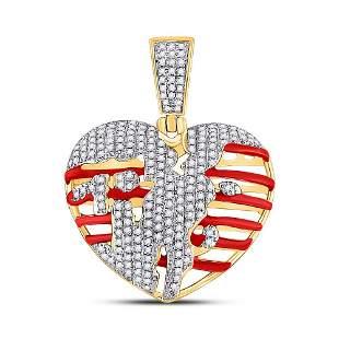 Round Diamond Heart Charm Pendant 5/8 Cttw 10KT Yellow