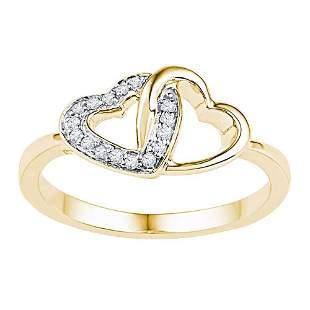 Round Diamond Double Locked Heart Ring 1/12 Cttw 10KT