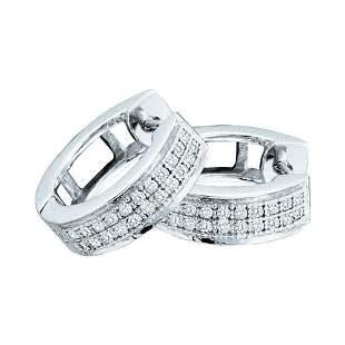 Round Diamond Huggie Earrings 1/6 Cttw 10KT White Gold