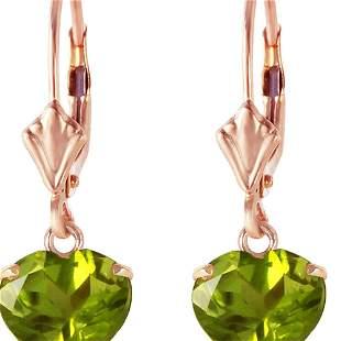 Genuine 3.25 ctw Peridot Earrings 14KT Rose Gold -