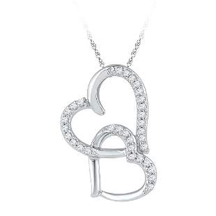 Round Diamond Linked Double Heart Pendant 1/10 Cttw