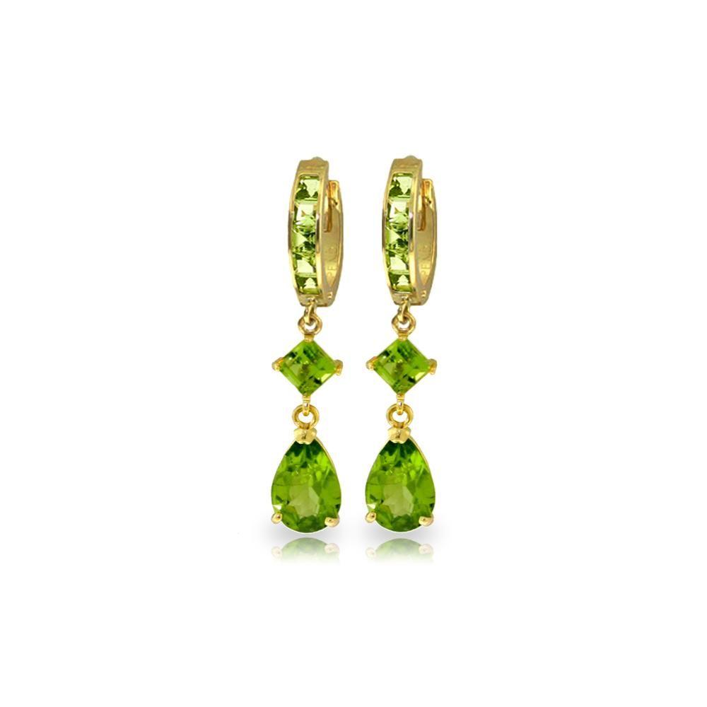 Genuine 5.62 ctw Peridot Earrings 14KT Yellow Gold -