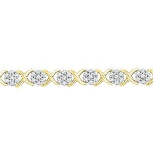 Round Diamond Flower Cluster Fashion Bracelet 1/4 Cttw