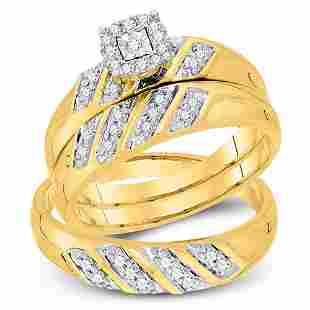 Diamond Solitaire Matching Wedding Set 1/4 Cttw 10KT