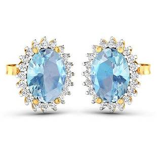 Natural 2.36 CTW Aquamarine & Diamond Earrings 14K