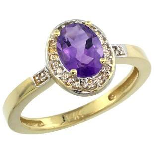 1.15 CTW Amethyst & Diamond Ring 10K Yellow Gold -