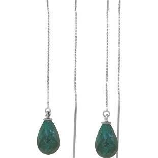 Genuine 6.6 ctw Green Sapphire Corundum Earrings 14KT