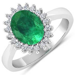 Natural 2.39 CTW Zambian Emerald & Diamond Ring 14K