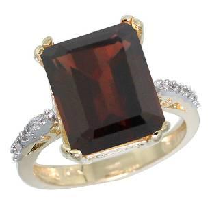 5.52 CTW Garnet & Diamond Ring 14K Yellow Gold -