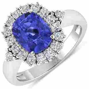 Natural 2.64 CTW Tanzanite & Diamond Ring 14K White