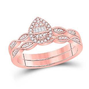 Bridal Wedding Ring Band Set 1/5 Cttw 10KT Rose Gold