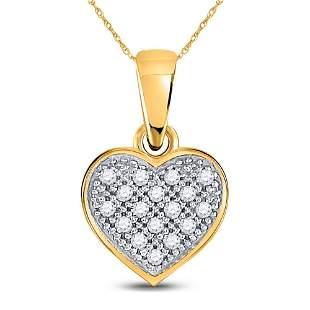 Round Diamond Simple Heart Cluster Pendant 1/20 Cttw
