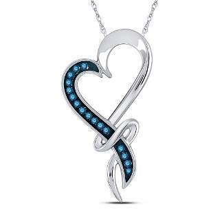Round Blue Color Enhanced Diamond Heart Pendant 1/10
