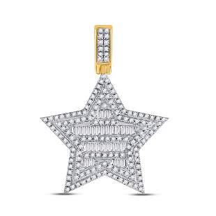 Baguette Diamond Star Charm Pendant 3/4 Cttw 10KT