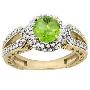1.25 CTW Peridot & Diamond Ring 14K Yellow Gold -