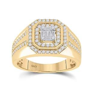 Baguette Diamond Octagon Cluster Ring 3/4 Cttw 14KT