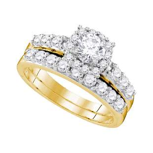 Diamond Halo Bridal Wedding Ring Band Set 1-1/2 Cttw