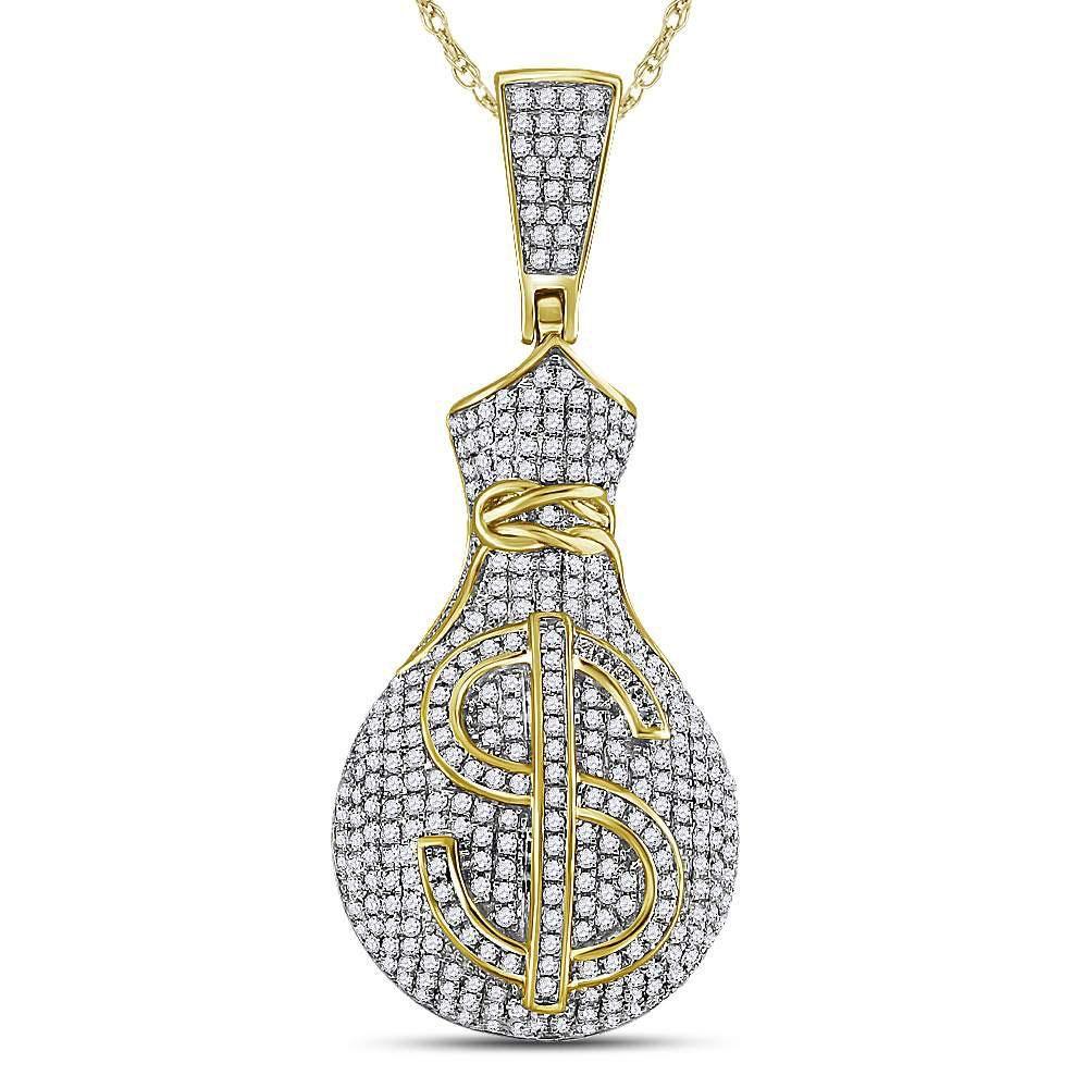 Round Diamond Money Bag Dollar Sign Charm Pendant 1