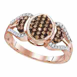 Round Brown Diamond Oval Cluster Ring 1/3 Cttw 10KT
