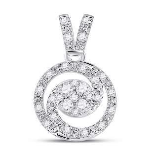 Round Diamond Circle Swirl Cluster Pendant 1/5 Cttw