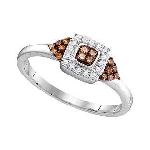Round Brown Diamond Square Cluster Ring 1/5 Cttw 10KT